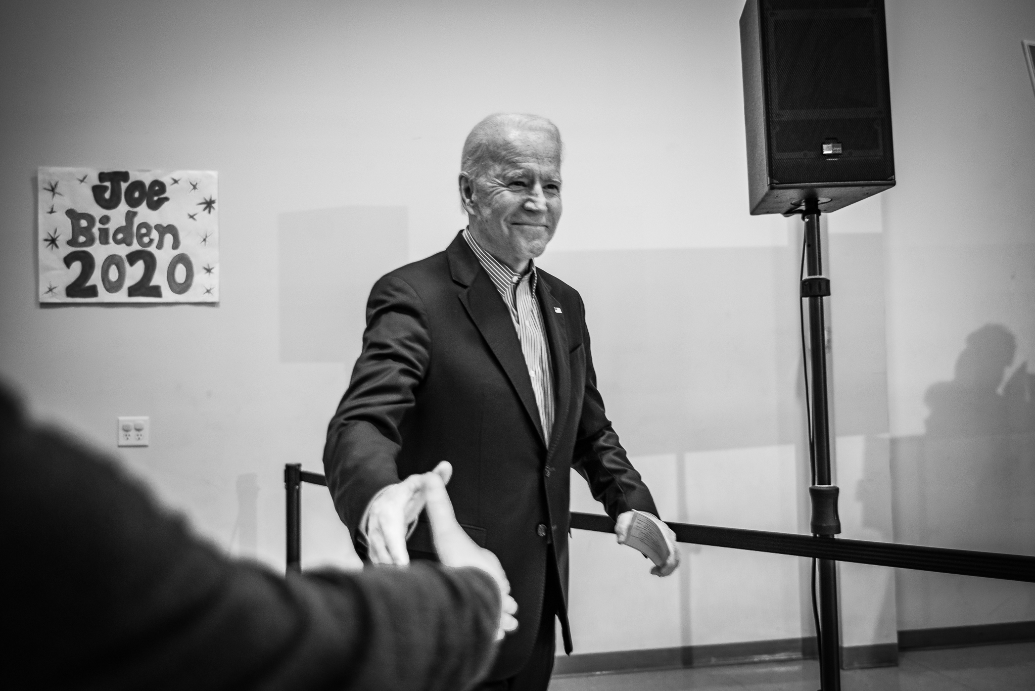 Joe Biden greets supporters in Sumter, South Carolina a day before primary voting begins. February 28, 2020. Photo: Lance Monotone.