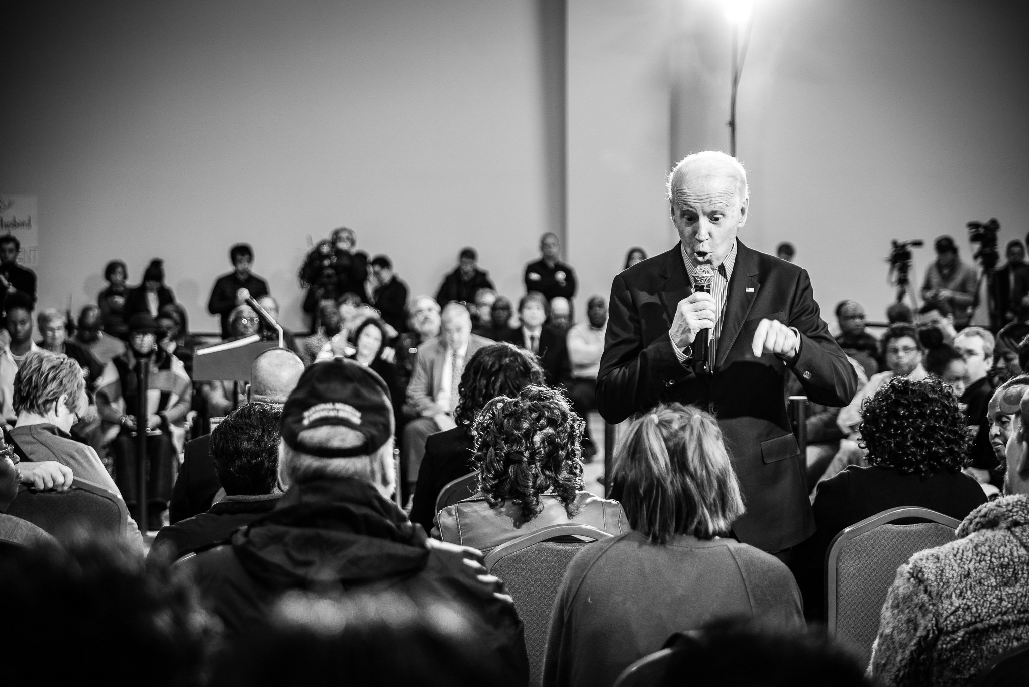 Joe Biden faces down voter, Marybeth Berry, to answer a critical question at a rally in Sumter, South Carolina. February 28, 2020. Photo: Lance Monotone.