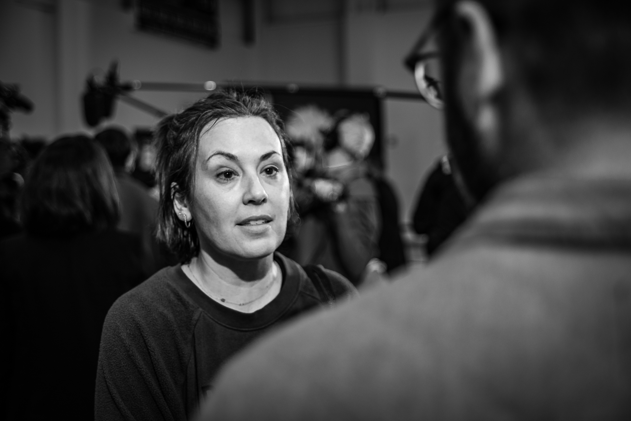 Reporter Miroslav Tomoski interviews Marybeth Berry at a rally in Sumter, South Carolina. February 28, 2020. Photo: Lance Monotone.