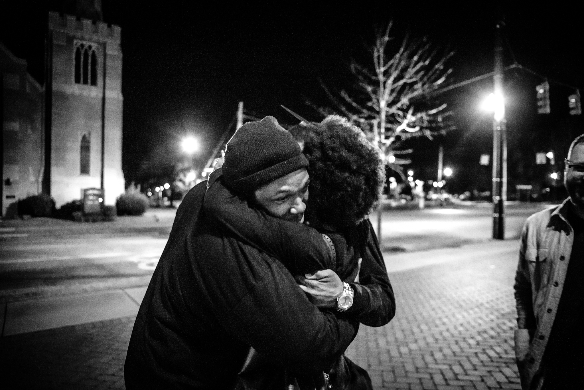 Nocola Hemphill hugs a fellow member of Tom Steyer's campaign team in Columbia , South Carolina. February 29, 2020. Photo: Lance Monotone.