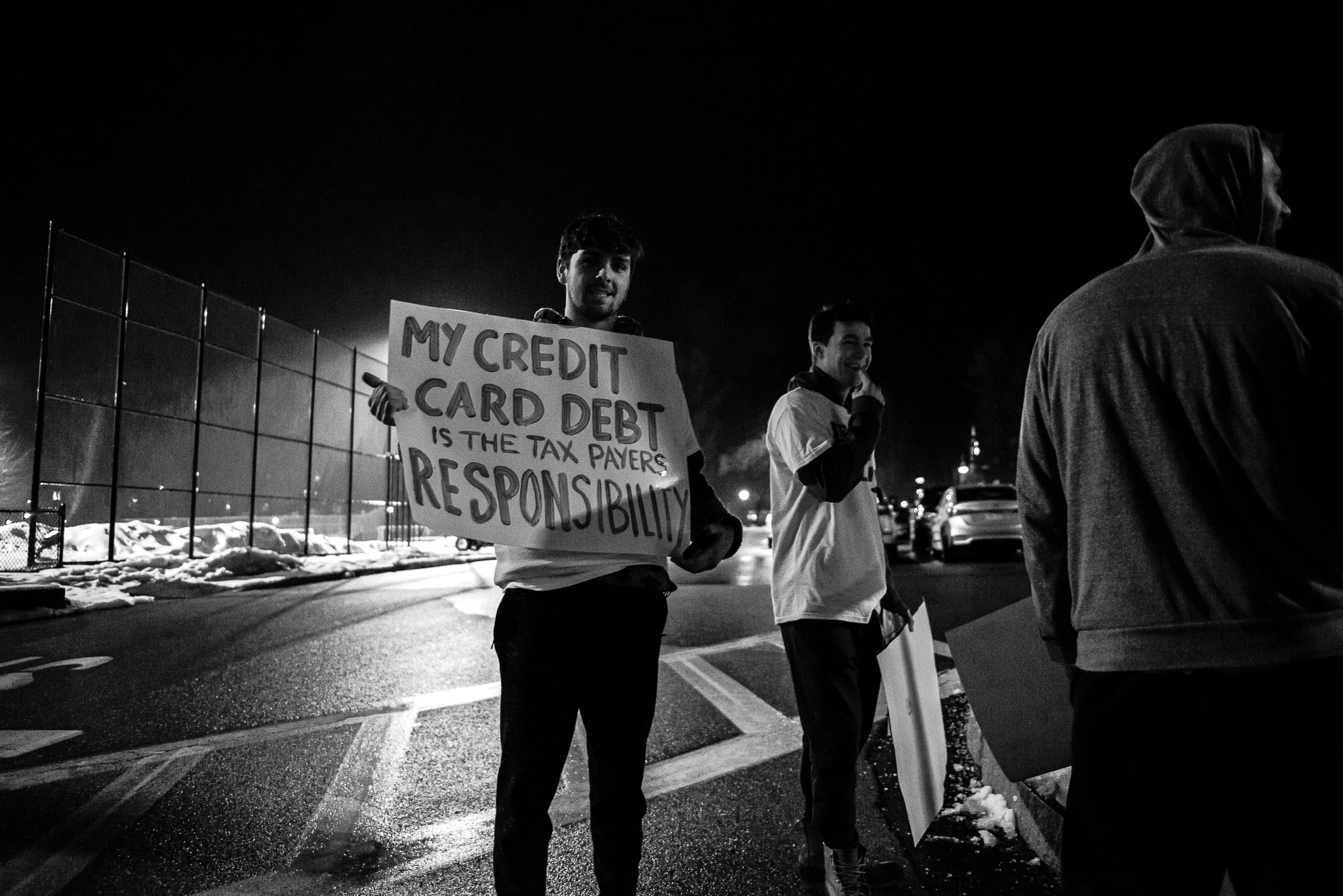 Anti-Bernie protesters rally outside of a Bernie Sanders event in Manchester New Hampshire. February 11, 2020. Photo: Lance Monotone.