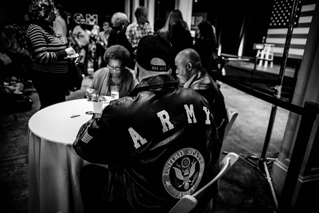 An Army veteran waits for Tom Steyer to give a speech on primary night in Columbia, South Carolina. February 29, 2020. Photo: Lance Monotone.