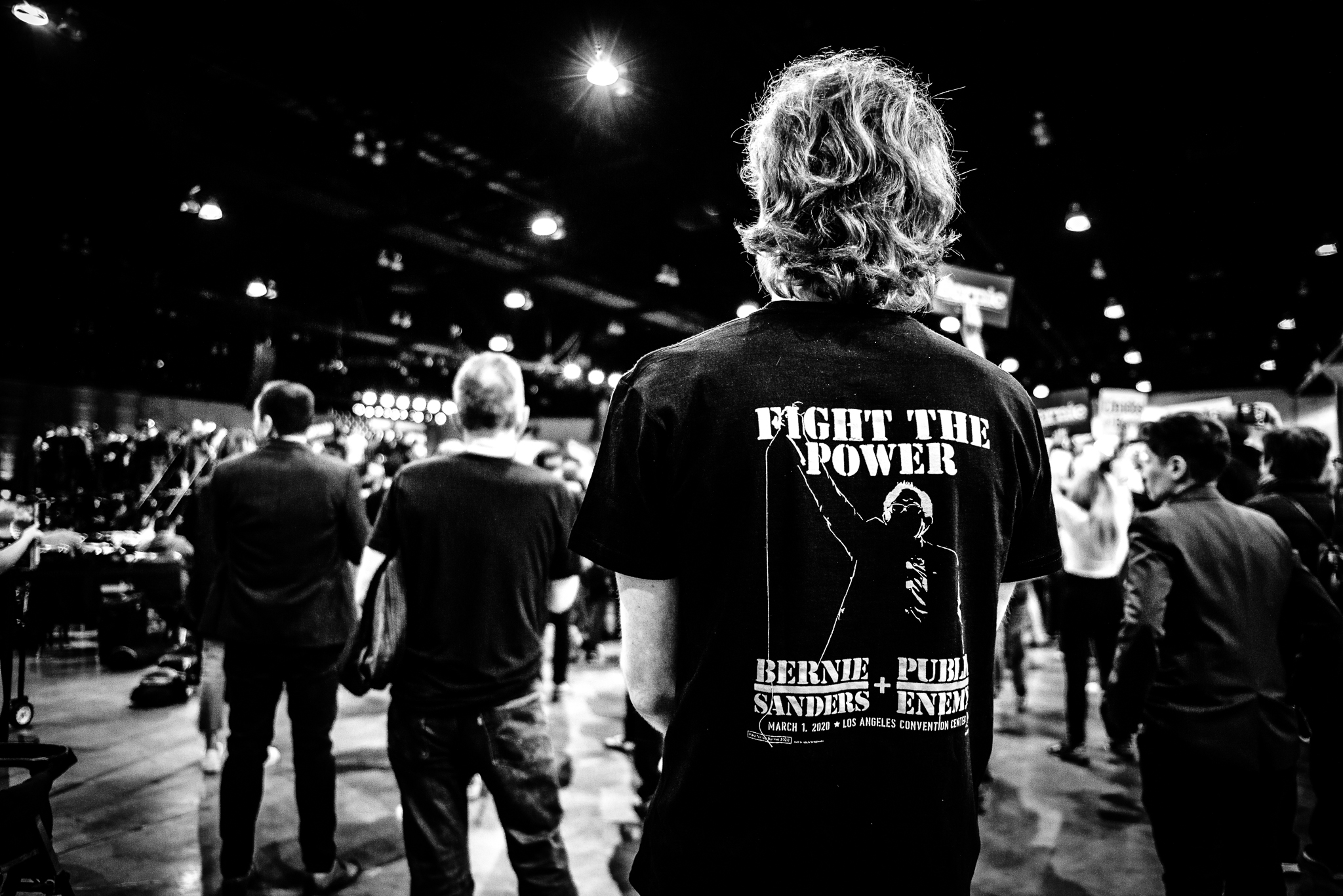 Bernie Supporters gather to hear a performance by Chuck D and Public Enemy Radio in Los Angeles California. March 1, 2020. Photo: Lance Monotone.