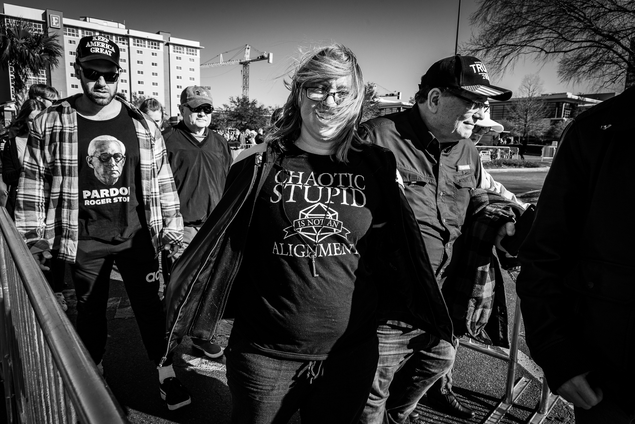 Trump supporters show off their graphic tees in line at a rally in North Charleston, South Carolina. Photo: Lance Monotone.